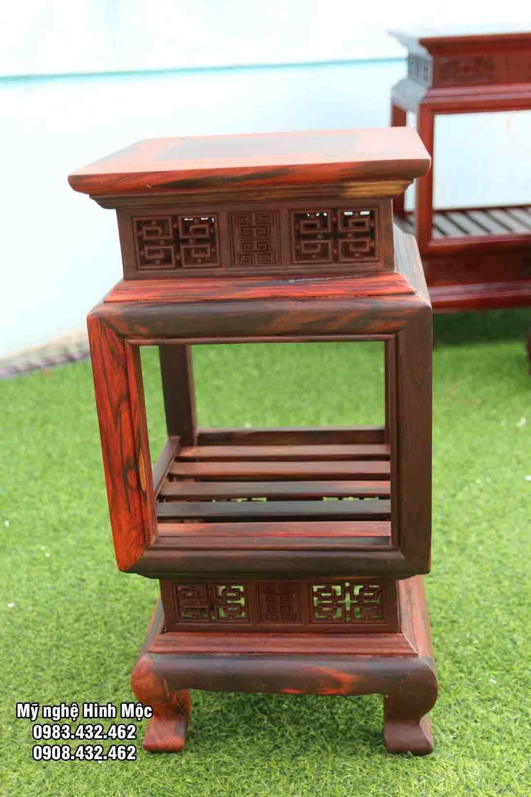 Đôn mặt vuông cao 60cm gỗ trắc