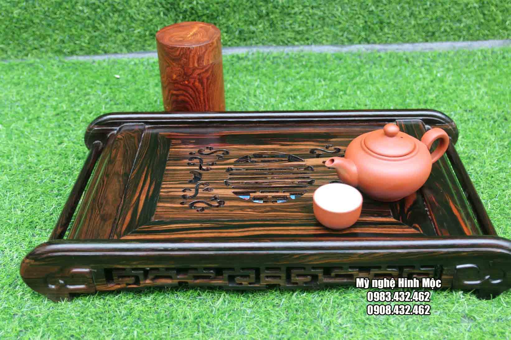 Khay trà chân cuốn gỗ mun
