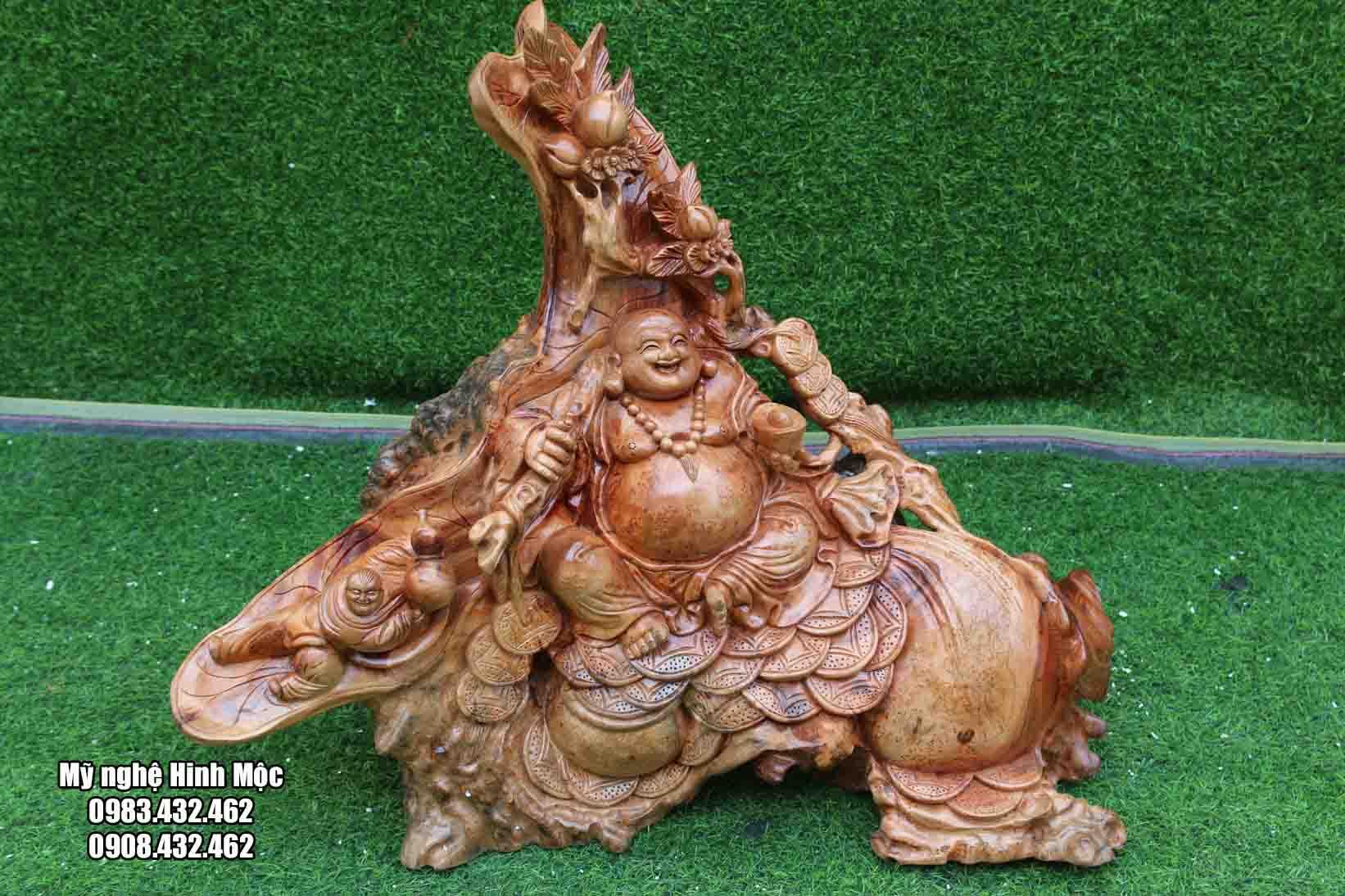 Phật Di Lặc ngồi bao tiền gỗ xá xị