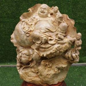 Phật Di Lặc ngồi đài sen gỗ nu nghiến