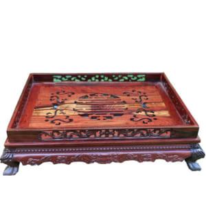 Khay trà chữ Thọ gỗ cẩm