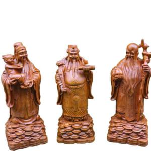 3 ông Phúc Lộc Thọ gỗ hương cao 50cm