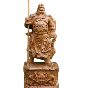 Tượng Quan Vũ cao 30cm gỗ bách xanh
