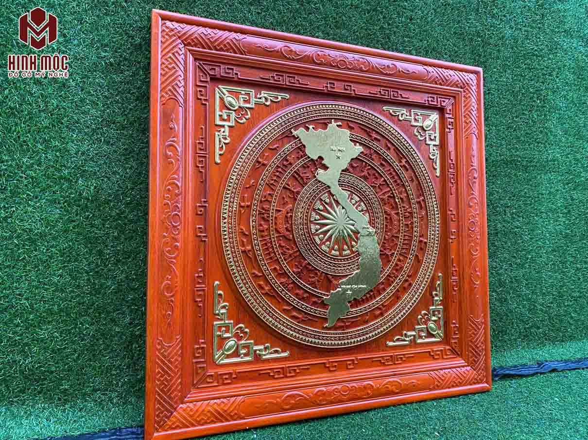 tranh trống đồng vuông 81cm gỗ hương